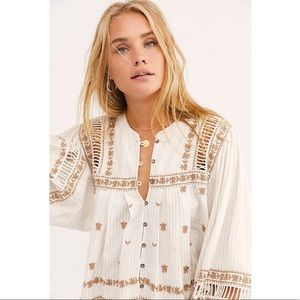 Free People Ivory All Roads Lead to You Blouse